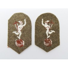 Pair of Royal Signals Cloth Collar Badges