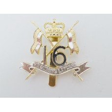 16th/5th Queen's Lancers Anodised (Staybrite) Cap Badge - Queen's