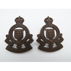 Pair of Royal Canadian Army Ordnance Corps Officer's Service Dress Collar Badges - King's Crown