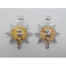 Pair of Queen's Regiment Anodised (Staybrite) Collar Badges