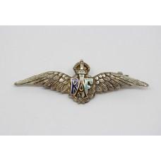 Royal Air Force (R.A.F.) Sterling Silver & Enamel Sweetheart Brooch - King's Crown