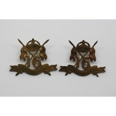 Pair of 16th Queen's Lancers Officer's Collar Badges - King's Crown