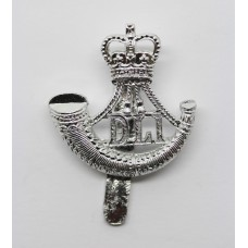 Durham Light Infantry (D.L.I.) Anodised (Staybrite) Cap Badge - Queen's Crown