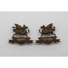 Pair of East Kent Regiment (The Buffs) Officer's Collar Badges