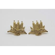 Pair of King's Own Scottish Borderers (K.O.S.B.) Anodised (Staybrite) Collar Badges