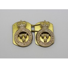 Pair of Shropshire Yeomanry Anodised (Staybrite) Collar Badges - Queen's Crown