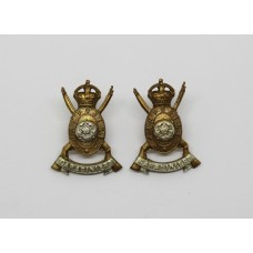 Pair of Hampshire (Carabiniers) Yeomanry Collar Badges - King's Crown