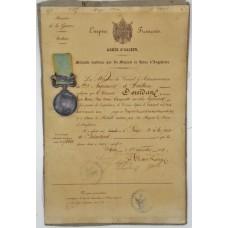 Unnamed Crimea Medal (Clasp - Sebastopol) with Original Certificate - Louis Marill, 3rd Regiment d'Artillerie