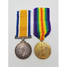 WW1 British War & Victory Medal Pair - Pte. F.E. Grimstead, Wiltshire Regiment