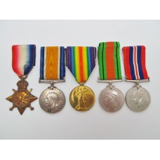 WW1 1914-15 Star Medal Trio, WW2 Defence Medal & 1939-45 War Medal - Pte. A. Gordon, 5th Bn. Lancashire Fusiliers