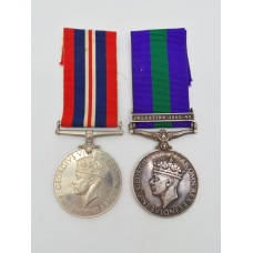 1939-45 War Medal and General Service Medal (Clasp - Palestine 19