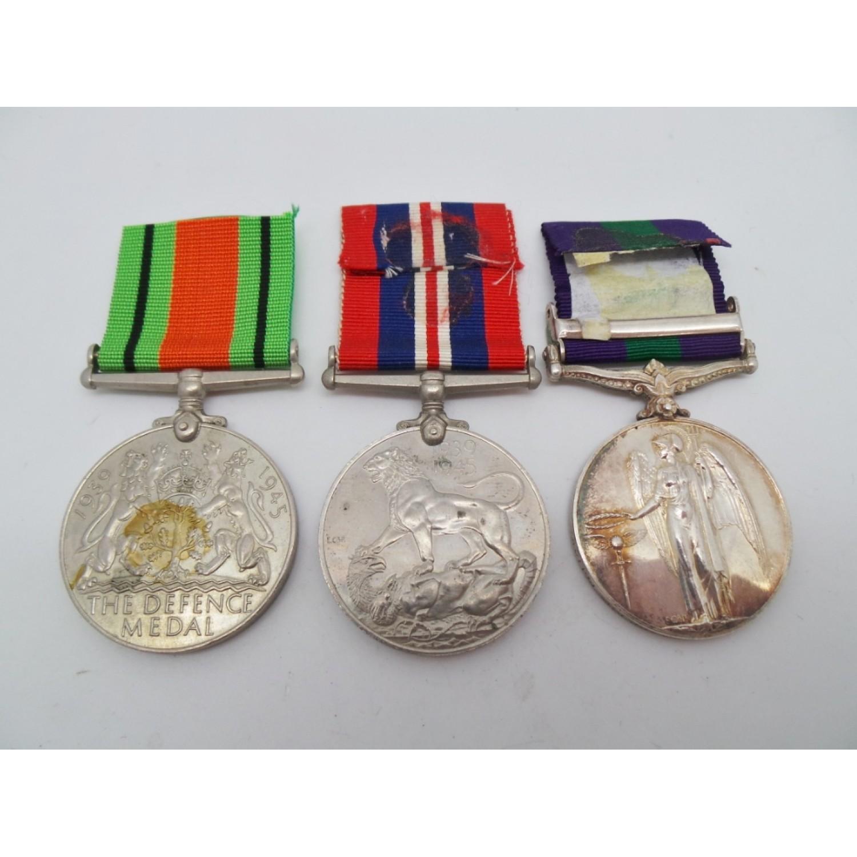 WW2 Defence Medal, 1939-45 War Medal and General Service Medal