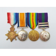 1914-15 Star Medal Trio and General Service Medal (Clasps - Iraq, N.W. Persia) - Pte. J.E. Leaver, The Queen's (Royal West Surrey) Regt and York & Lancaster Regt