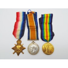 WW1 1914-15 Star Medal Trio - Pte. T. Wright, York and Lancaster Regiment