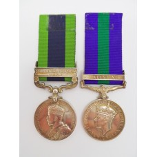 1908 India General Service Medal (Clasp - North West Frontier 1930-31) and General Service Medal (Clasp - Palestine) - Pte. J.A. Wallace. 2nd Bn. Essex Regiment
