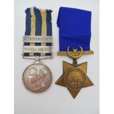 Egypt Medal (Clasps - El-Teb_Tamaai, The Nile 1884-85) & 1884 Khedives Star - Pte. W. Burt, 1st Gordon Highlanders