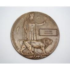 WW1 Memorial Plaque (Death Penny) - Walter Barnard