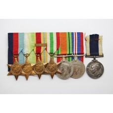 WW2 and Naval Long Service & Good Conduct Medal Group of Seven - A.P.O. E.F. Burtenshaw, H.M.S. Cape Town, Royal Navy