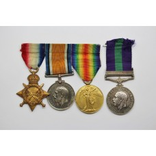 WW1 1914-15 Star Trio and General Service Medal (Clasp - Iraq) - Pte. H.T. Pittman Gloucestershire Regiment & Rifle Brigade