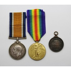 WW1 British War & Victory Medal Pair with Royal Life Saving Society Medal - Pte. R. Clayton, Army Service Corps