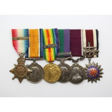 WW1 1914 Mons Star & Bar, British War Medal, Victory Medal (MID), GSM (Clasp - Iraq), LS&GC and Corps of Commissionaires Medal Group of Six - Sgt. E.A. Green, Royal Field Artillery