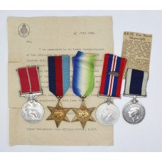 WW2 B.E.M., Mentioned In Despatches & Long Service Medal Group - Chief Shipwright J.W. Boyden, Royal Navy H.M.S. Valiant