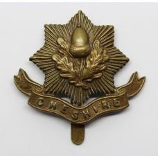 Cheshire Regiment WW1 All Brass Economy Cap Badge