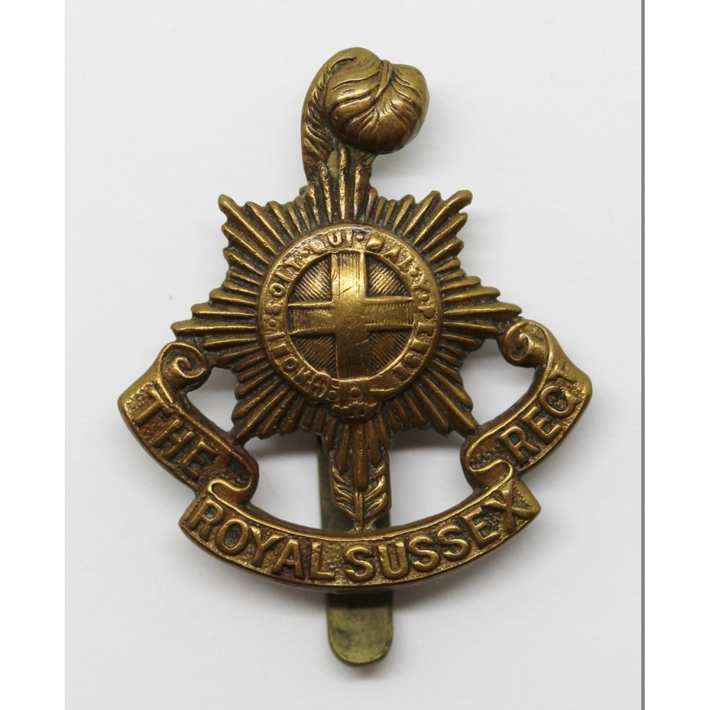 Royal Sussex Regiment WW1 All Brass Economy Cap Badge