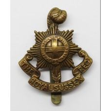 Royal Sussex Regiment WW1 All Brass Economy Cap Badge