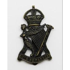 Royal Irish Rifles Blackened Brass Cap Badge - King's Crown