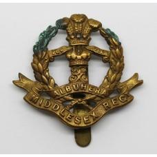 Middlesex Regiment WW1 All Brass Economy Cap Badge