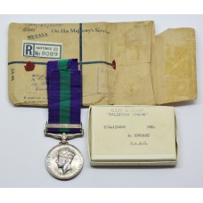 General Service Medal (Clasp - Palestine 1945-48) - Dvr. E. Housley, Royal Army Service Corps