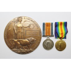 WW1 British War Medal, Victory Medal & Memorial Plaque - Pte. J.A. Matthews, 1st/6th bn. Gloucestershire Regiment - Died of Wounds
