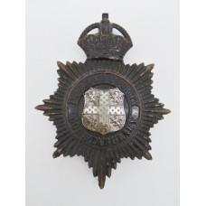 Durham County Constabulary Night Helmet Plate - King's Crown