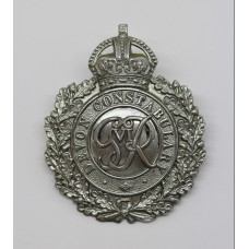 George VI Devon Constabulary Wreath Helmet Plate