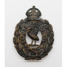 Liverpool City Police Black Wreath Helmet Plate - King's Crown