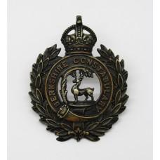 Berkshire Constabulary Black Wreath Helmet Plate - King's Crown