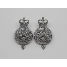 Pair of Lancashire Constabulary Collar Badges - Queen's Crown