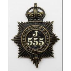 Metropolitan Police 'J' Division (Bethnal Green) Helmet Plate - K