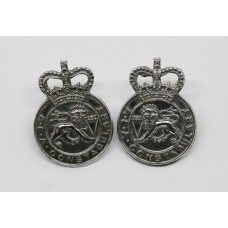 Pair of United Kingdom Atomic Energy Authority (U.K.A.E.A.) Constabulary Collar Badges - Queen's Crown