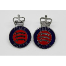 Pair of Essex Police Enamelled Collar Badges - Queen's Crown