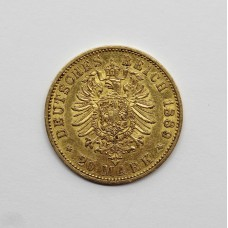 1889 A German Prussian Wilhelm II .900 Gold 20 Mark Coin