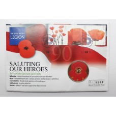 2011 Bailiwick of Jersey Royal British Legion 90th Anniversary Commemorative Coin Cover - Saluting Our Heroes