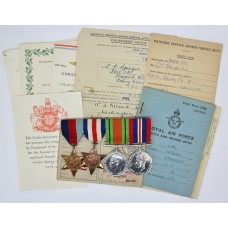 WW2 Medal Group of Four with Original Documents - LAC. L.T. Sprague, Royal Air Force Volunteer Reserve