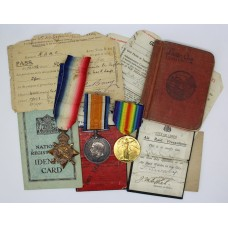 WW1 1914-15 Star Medal Trio with Original Documents - Pte. J.M. Sykes, Royal Army Medical Corps