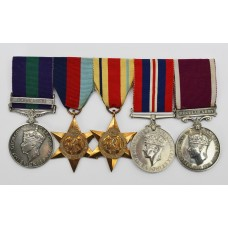 General Service Medal (Clasp - Palestine), WW2 and LS&GC Medal Group of Five - Cpl. A. Bullous, Royal Sussex Regiment & R.E.M.E.