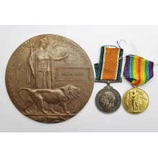 WW1 British War Medal, Victory Medal & Memorial Plaque - Pte. H. Sykes, 8th Bn. North Staffordshire Regiment - K.I.A.