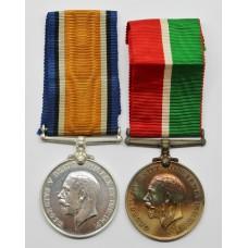 WW1 Mercantile Marine Medal Pair - Charles R. Powell