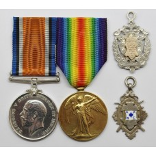 WW1 British War & Victory Medal Pair with 2 Silver Medallions - Pte. A. Chalmers, 18th Bn. Highland Light Infantry