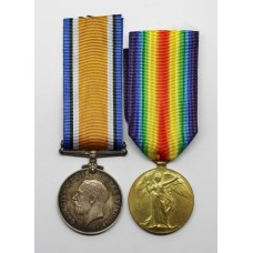 WW1 British War & Victory Medal Pair - Pte. C. York, 26th (Bankers) Bn. Royal Fusiliers - K.I.A.